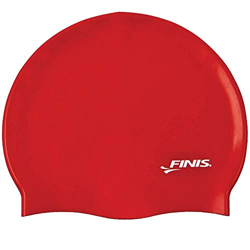 Finis Trainingsgeräte Silicone Swim Cap Solid Gorro de natación, Unisex, Rojo-Rojo