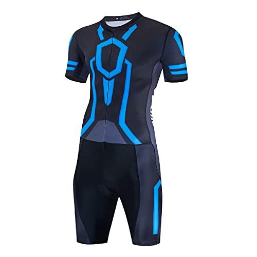 Hombre Manga Corta Triathlon Skin Suit Breath Triatlón Traje de carreras para deportes al aire...