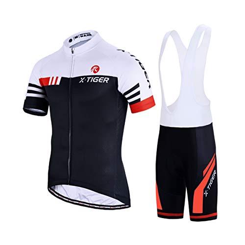 X-TIGER Hombres de Bicicleta con 5D Gel Acolchado MTB Ciclismo Tirantes Culotte Pantalones Cortos...