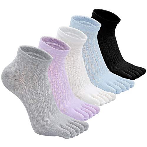 PUTUO Mujer cinco dedos calcetines de deporte, Calcetines de dedos mujer calcetines de algodón,...