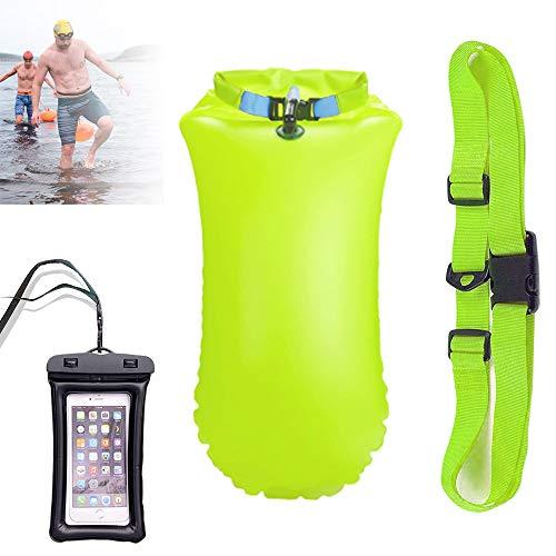 Boya de Natación 20L, Boya natación con Bolsa Seca Plus Bolsillo Impermeable Celular - Swim Buoy -...
