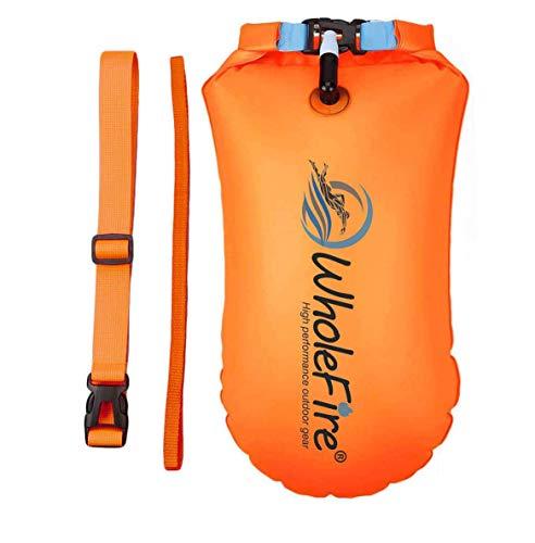 WholeFire Boya de 20 l con bolsa seca, para triatlón, impermeable, hinchable, de alta visibilidad...