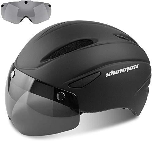 Shinmax Casco Bici Certificato CE, Casco Bici Adulto con Occhiali Magnetici Staccabili Visiera...