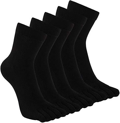 PUTUO Calcetines Dedos Hombres Negro Calcetines de Deportes de Algodón, Hombres Cinco Calcetines...
