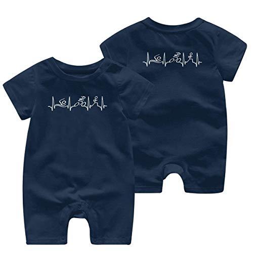 Monos sin Mangas para bebé Triatlón Latido del corazón Vintage bebé niño niña Mameluco de...