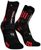 COMPRESSPORT Pro Racing Socks v3.0 Trail Calcetines para Correr, Unisex-Adult, Negro/Rojo, T4