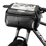 TEUEN Bolsa Manillar Bicicleta Impermeable Bolsa Delantera Bici Montaña con Pantalla Táctil para Movil GPS, 4L Bolsas para Manillar de Bicicleta Carretera con Cubierta de Lluvia y Reflectante (Negro)