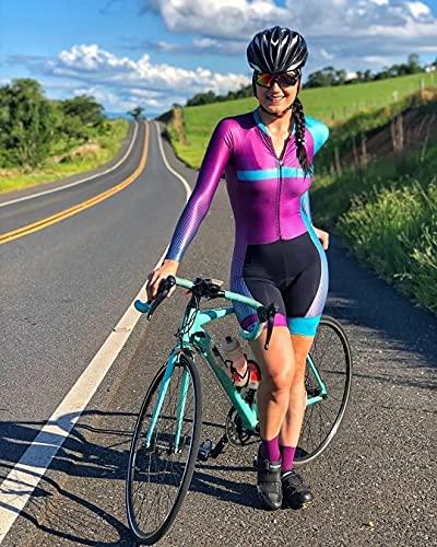 Traje de ciclismo for mujeres, mono de una pieza, manga corta, ciclista femenino Pro equipo de...