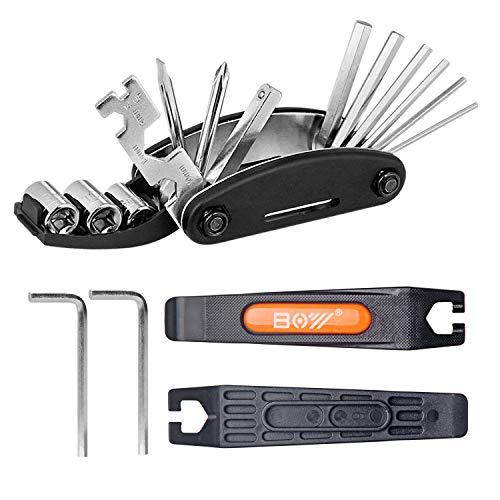 QKURT Conjunto de Kit de reparación mecánico de Bicicletas(Palanca de neumático de Bicicleta,...