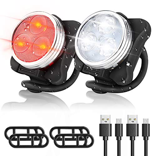 WOTEK Luces Bicicleta Recargable USB, IPX5 4 Modos Luces Bicicleta Delantera y Trasera Linterna...