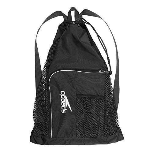 Speedo Deluxe Ventilator Mesh Bag Mochila, Unisex, Negra/Blanca, Talla única
