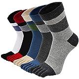 PUTUO Calcetines Dedos Hombres Calcetines de Deportes de Algodón, Hombres Cinco Calcetines del dedo del pie, 3/4/5 pares (Multicolor 7-5 pares)