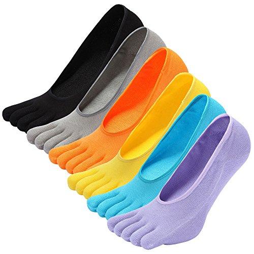 LOFIR Calcetines Cortos de 5 Dedos para Mujer Calcetines Invisibles con Dedos Separados, Calcetines...