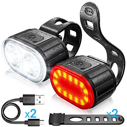 Luces Bicicleta Kit, Luz Delantera y Luz Trasera de LED Bicicleta, Luz Bicicleta Recargable USB,...