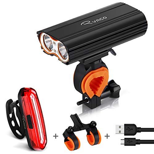 Ryaco Luz Bicicleta Recargable USB, 4 Modos 2400 Lúmenes IP65 Impermeable, Linterna Bicicleta con...