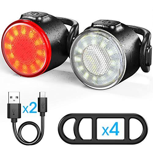 Luces Bicicleta, Luces Delanteras y Traseras Recargables USB Para Bicicleta, Impermeable LED Luz...