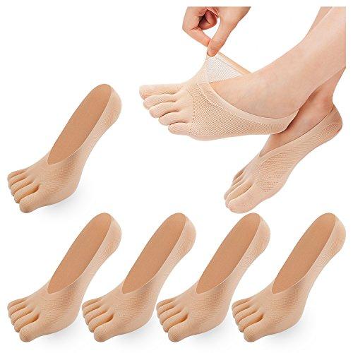 REKYO De Las Mujeres Del Dedo Del Pie De Cinco Dedos Calcetines Suave Y Transpirable Escotados...