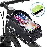 Bolsas de Bicicleta, TURATA Bolsa Impermeable para Bicicleta, Bolsa Táctil de Tubo Superior Delantero con Orificio para Auriculares para iPhone Samsung Teléfono Inteligente por Debajo de 6,5 Pulgadas