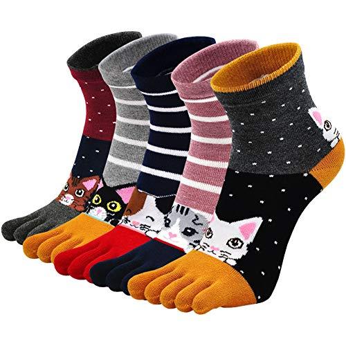 Calcetines de Dedos Mujer Calcetines Cinco Dedos de Algodón, Mujer Calcetines del Dedo del Pie,...
